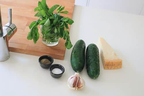 Ingredientes carpaccio de pepino