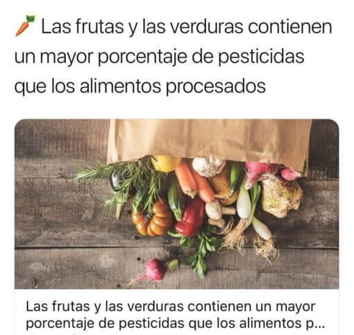 Frutas y verduras con pesticidas vs procesados