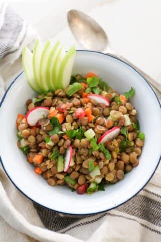 Ingredientes Ensalada de lentejas y manzana nutricionista valencia