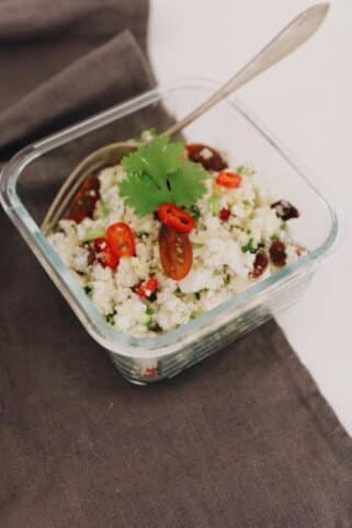 Ingredientes Cous cous de coliflor nutricionista Valencia