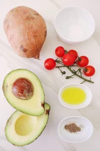 Ingredientes Tostada de aguacate y boniato nutricionista Valencia Nutt