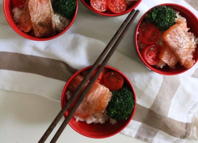 poke rápido de salmón