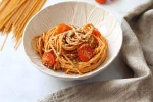 Spaghetti al pesto siciliano Nutricionista Valencia