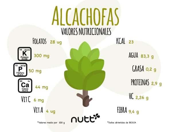 Alcachofa sus propiedades y beneficios nutricionista Valencia Nutt infografía