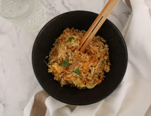 Salteado de arroz con pollo