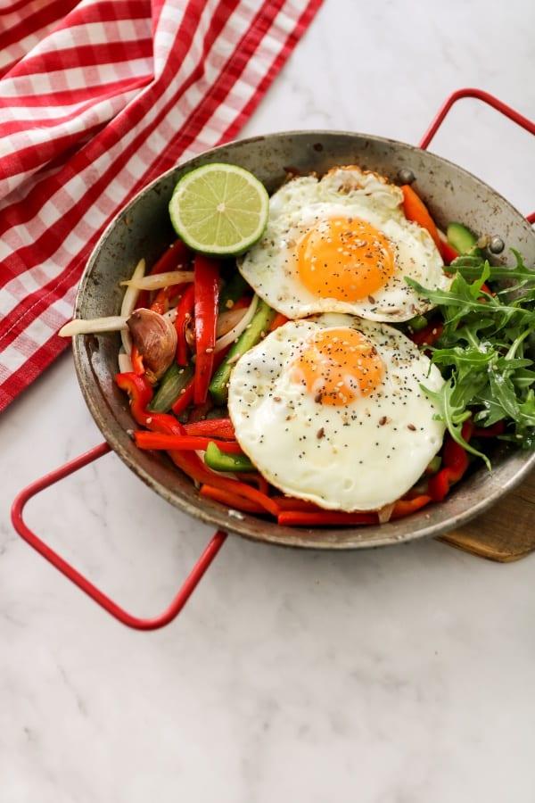 Ingredientes Sartén de huevos con verduras nutricionista valencia