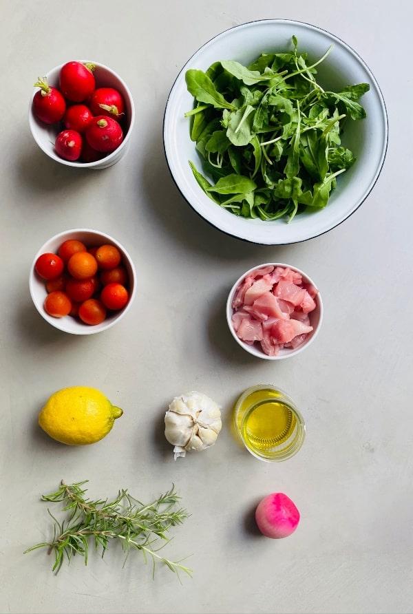 ingredientes ensalada de carne de conejo